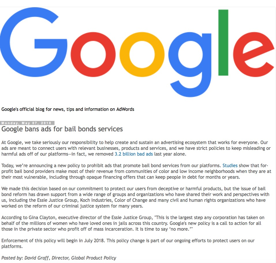 Google banning bail bonds ads because of race