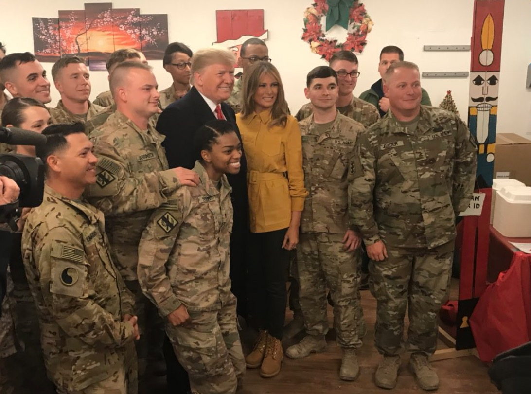 Trump visits US Troops in Iraq, addresses pull out of Syria