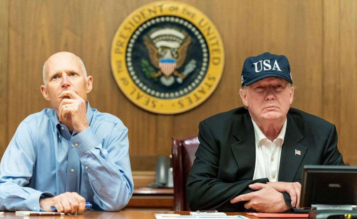Scott and Trump monitor Hurricane Dorian from FEMA HQ