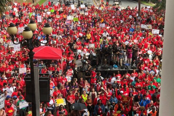 Teachers rally for more education money