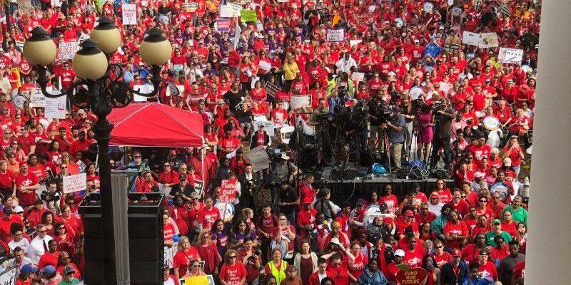 Teachers rally for more education money