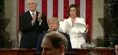 Nancy Pelosi rips up Trump's SOTU address
