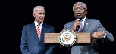 WASHINGTON, DC - SEPTEMBER 24:  (L-R) Vice President Joe Biden is introduced by U.S. Representative James Clyburn at the CBC Spouses 17th Annual Celebration of Leadership in the Fine Arts at the Nuseum Museum on September 24, 2014 in Washington, DC.  (Photo by Earl Gibson III/Getty Images)