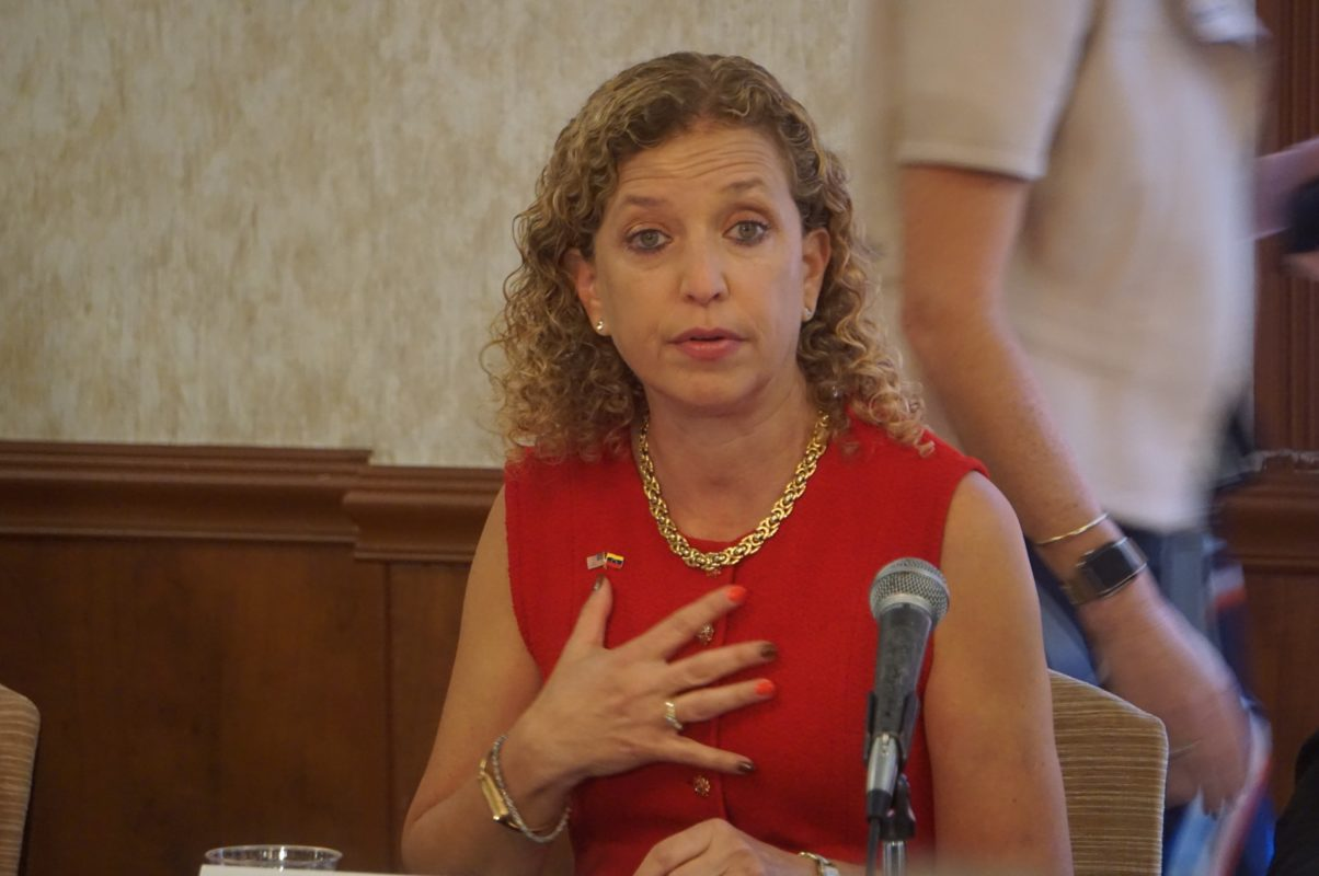"Wasserman Schultz protests for ""communities of color"" from a very white community"