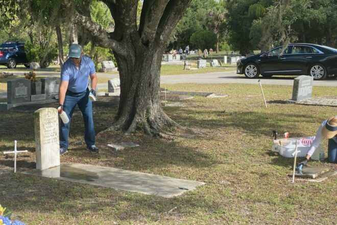 Casey Askar gives back, cleans veterans' headstones