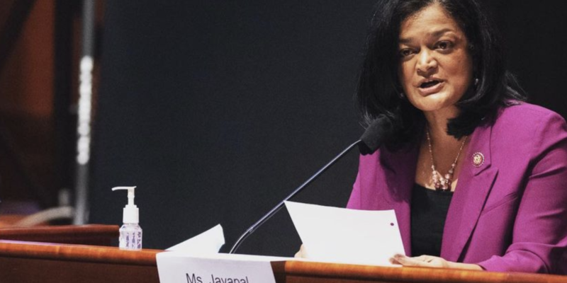 Maskless Jayapal blames Republicans for her testing positive for COVID-19 during Capitol riot